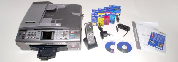 Brother MFC-855CW: Perfect outfit - has WLAN and provides a DECT-phone.