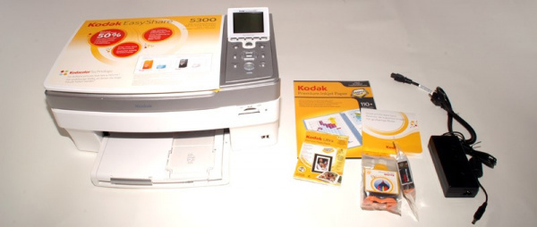 Kodak Easyshare 5300: Cartridges, driver-CD, paper-sample-pack, mains-adapter with cable