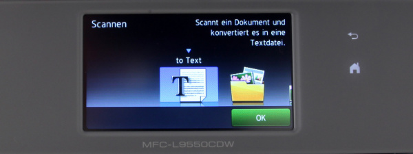 "Brother MFC-L9550CDWT: ""Scan to Text"" sendet die Datei an die Texterkennungssoftware (OCR) des PCs..."