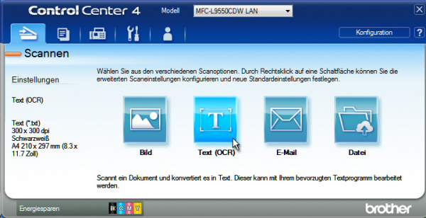 "Brother MFC-L9550CDWT: Scannen über die Software ""Control Center 4""..."
