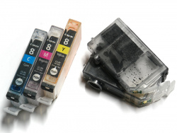 Easy to refill: Canons single-ink-cartridges.