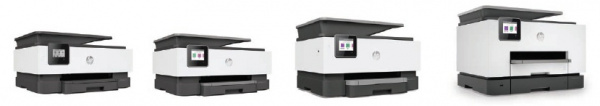 Vier neue HP-Officejet-Modelle: HP Officejet 8010, HP Officejet Pro 8020, HP Officejet Pro 9010 und HP Officejet Pro 9020.