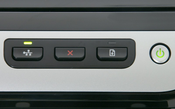 HP Officejet Pro 8000: Network-, Cancel-, and Paper feed buttons.
