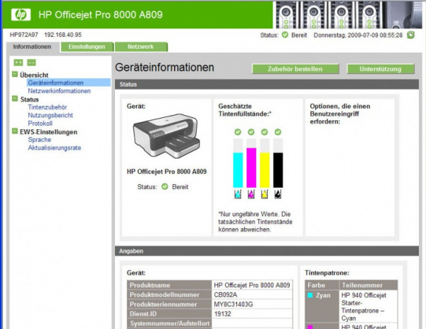 HP Officejet Pro 8000: Lots of information, many settings available.